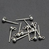 925 Sterling Silber Ohrring Stecker, silberfarben plattiert, 3mm, 10PaarePärchen/Tasche, verkauft von Tasche