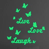 Dekorative Sticker Mode, PVC Kunststoff, Schmetterling, Wort Liebe, Klebstoff & glänzend, 460x510mm, verkauft von PC