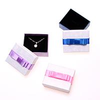 Karton Schmuckset Kasten, Papier, Fingerring & Halskette, mit Schwamm, Rechteck, 65x55x28mm, 60PCs/Menge, verkauft von Menge