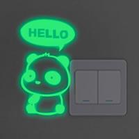 Lichtschalter Aufkleber, PVC Kunststoff, Panda, Wort Hello, Klebstoff & glänzend, 900x160mm, verkauft von PC