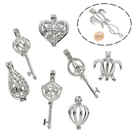 Süßwasser Perle Locket Anhänger, Messing, Platinfarbe platiniert, verschiedene Stile für Wahl & hohl, frei von Blei & Kadmium, verkauft von PC