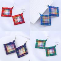 Holz Ohrring, mit Nylonschnur & Zinklegierung, Eisen Haken, Quadrat, gefärbt & für Frau, keine, 65x60mm, verkauft von Paar