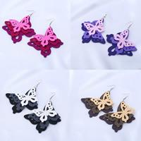 Holz Ohrring, mit Zinklegierung, Eisen Haken, Schmetterling, gefärbt & für Frau, keine, 80x80mm, verkauft von Paar