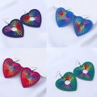 Holz Ohrring, mit Nylonschnur & Zinklegierung, Eisen Haken, Herz, gefärbt & für Frau, keine, 57x58mm, verkauft von Paar