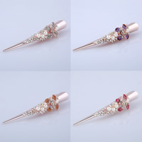 Zinklegierung Haarschnabel, mit ABS-Kunststoff-Perlen, goldfarben plattiert, für Frau & mit Strass, keine, frei von Blei & Kadmium, 130x30mm, verkauft von PC