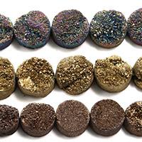 Natürliche Eis Quarz Achat Perlen, Eisquarz Achat, flache Runde, druzy Stil, keine, 12x5mm, Bohrung:ca. 2mm, ca. 16PCs/Strang, verkauft per ca. 8 ZollInch Strang