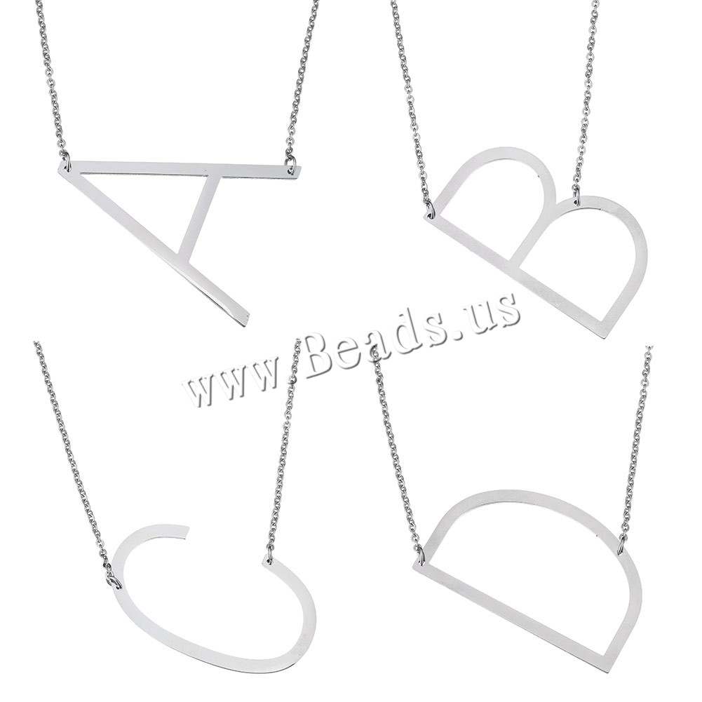 Buy Stainless Steel Sweater Chain Necklace Letter oval chain & different styles choice original color Sold Per Approx 26 Inch Strand
