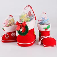 Weihnachtsgeschenkbeutel, Kunststoff, mit Gaze & Satinband & Nylonschnur, Weihnachtsstiefel, Weihnachtsschmuck & verschiedene Größen vorhanden & mit Samt überzogen, verkauft von PC