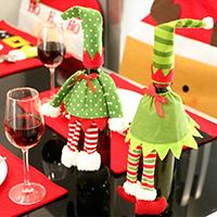 Stoff Weihnachten Wein Bag, mit Plüsch, Weihnachtsschmuck & verschiedene Muster für Wahl, 320x120mm, verkauft von PC