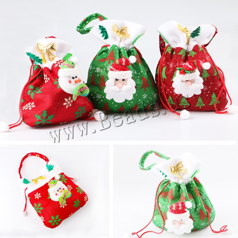 Buy Christmas Gift Bag Non-woven Fabrics Plush & Nylon Cord Christmas jewelry & different styles choice 200x360mm Sold PC