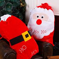 Weihnachtsgeschenkbeutel, Plüsch, mit Satinband & Kunststoff, Weihnachtsmann, Weihnachtsschmuck & verschiedene Stile für Wahl & mit Brief Muster, 500x650mm, verkauft von PC