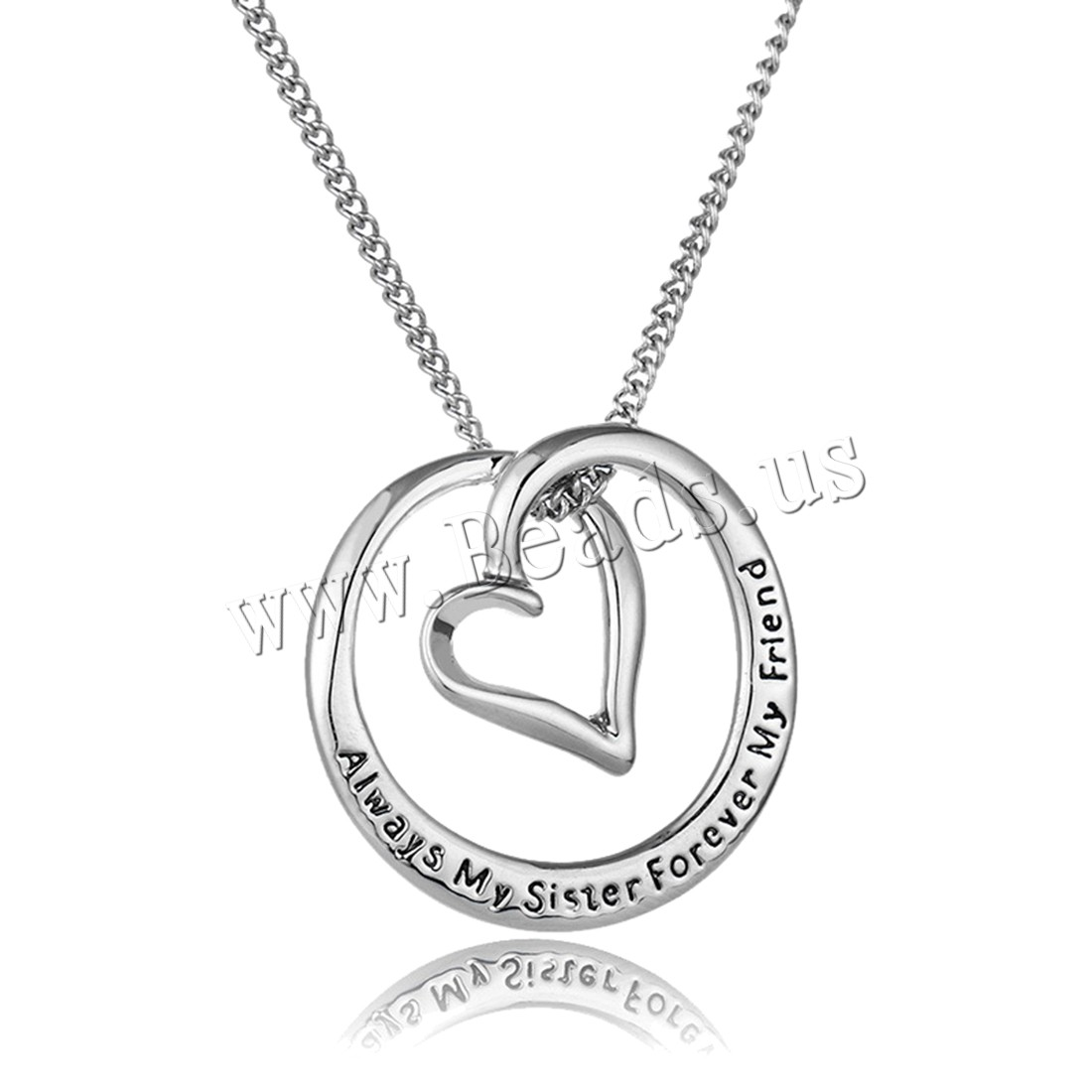Buy Zinc Alloy Jewelry Necklace 1.9lnch extender chain platinum color plated twist oval chain & letter pattern & woman & enamel nickel lead & cadmium free 25x25mm Sold Per Approx 17.7 Inch Strand