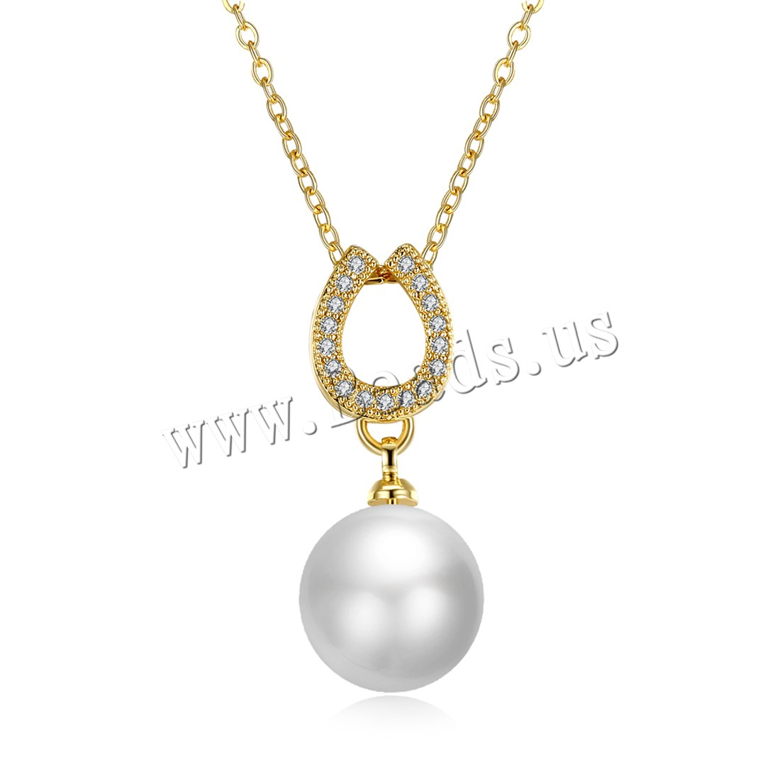 Buy Comeon® Jewelry Necklace Brass Freshwater Pearl 1.9lnch extender chain real gold plated natural & oval chain & woman & cubic zirconia nickel lead & cadmium free 11x25mm Sold Per Approx 17.7 Inch Strand