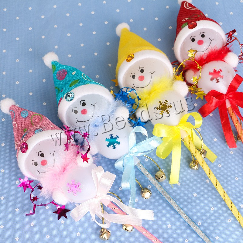 Plastic Christmas Snowman Stick Plush & Plastic Sequin & Satin Ribbon Christmas jewelry & LED 180mm 500mm Sold PC