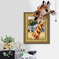 3D Wandaufkleber, PVC Kunststoff, Giraffe, Tier Design & Klebstoff & wasserdicht, 600x900mm, verkauft von setzen
