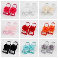 Baby Barefoot Sandalen, Satinband, mit Etamine, Blume, elastisch & für Kinder, keine, 60-65mm, verkauft von Paar