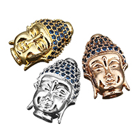 Buddhistische Perlen, Messing, Buddha, plattiert, Micro pave Zirkonia, keine, 12x18x6mm, Bohrung:ca. 2.5mm, 20PCs/Menge, verkauft von Menge