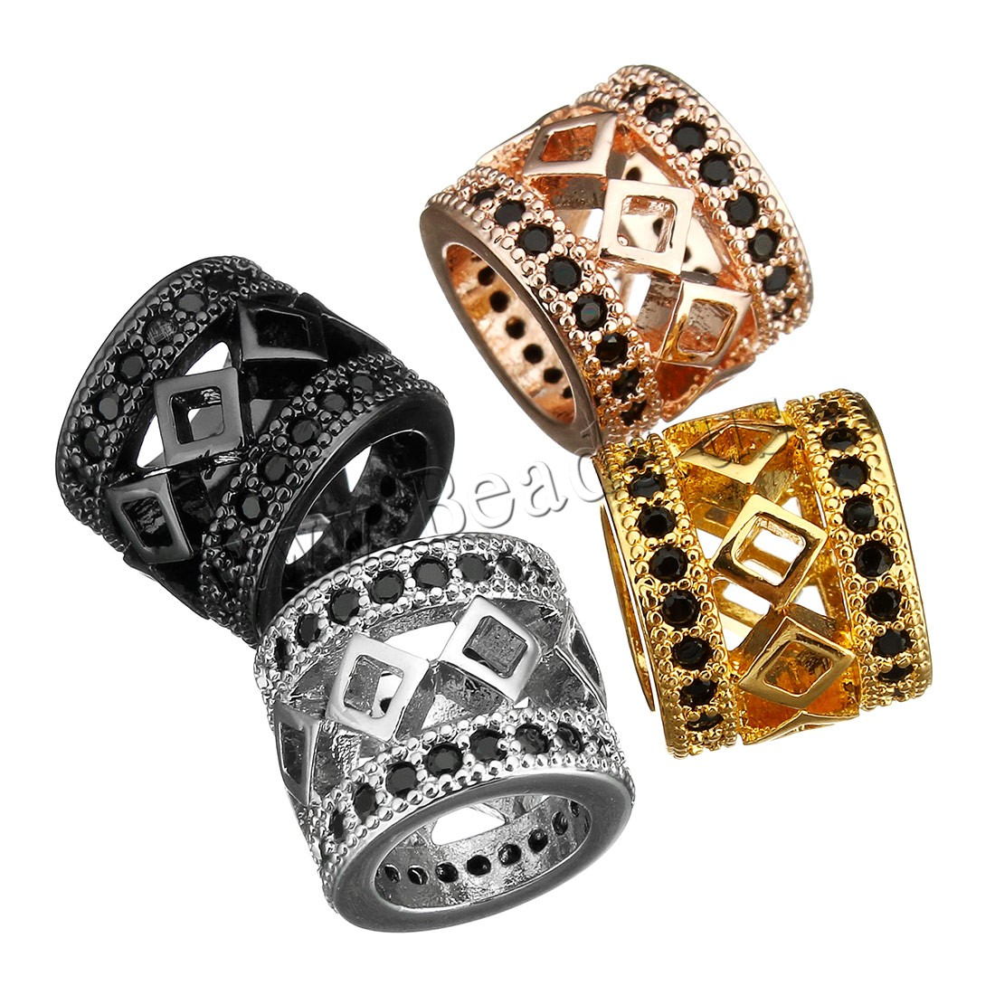 Buy Cubic Zirconia Micro Pave Brass Beads Column plated micro pave cubic zirconia & hollow colors choice 9x11x11mm Hole:Approx 7mm 3 Sold Lot