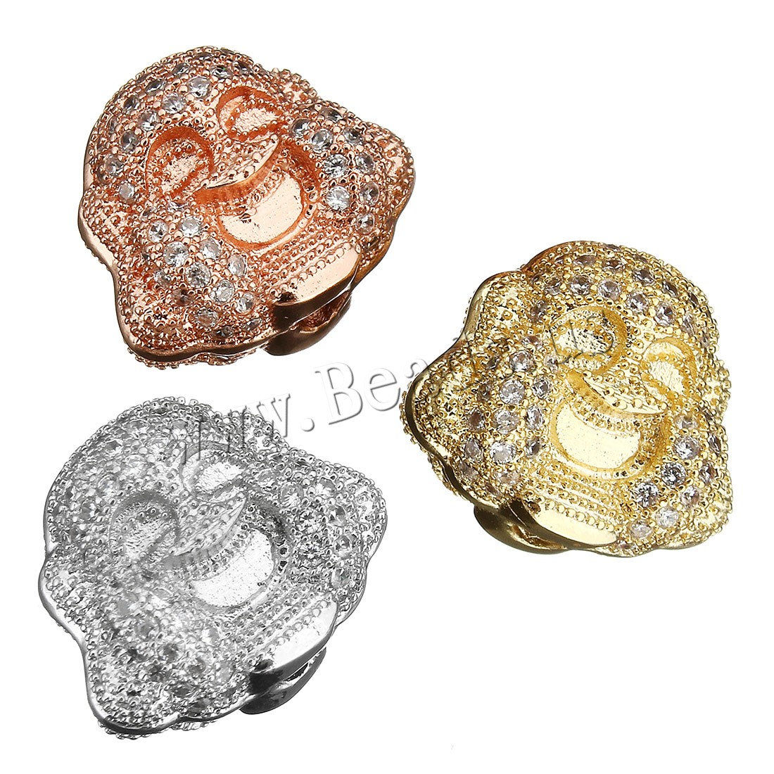 Buy Buddhist Beads Brass Buddha plated micro pave cubic zirconia colors choice 15x13x9mm Hole:Approx 2mm 1 Sold Lot