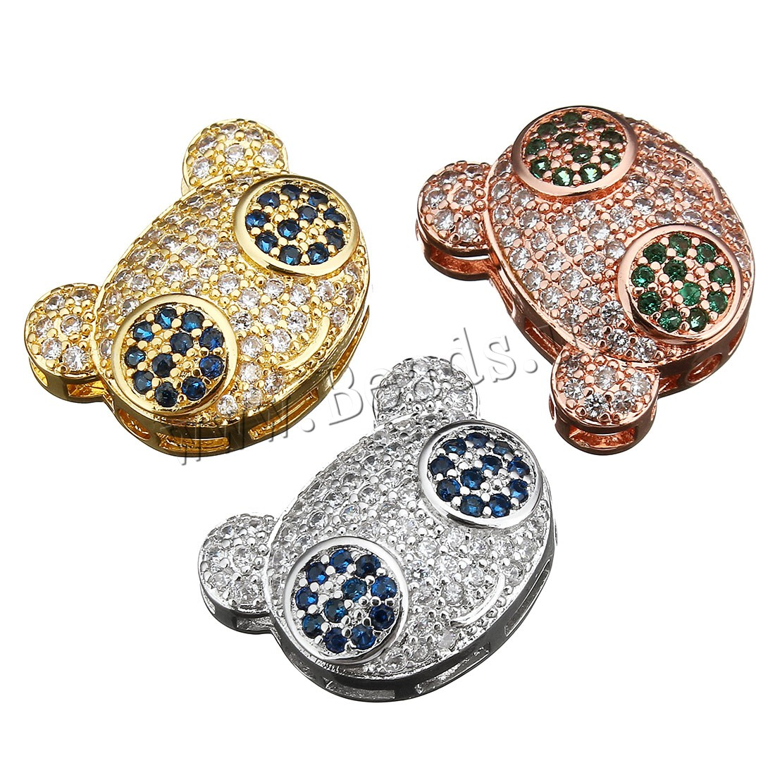 Buy Cubic Zirconia Micro Pave Brass Beads Panda plated multihole & micro pave cubic zirconia colors choice 16x13x5.50mm Hole:Approx 1.5mm 2 Sold Lot