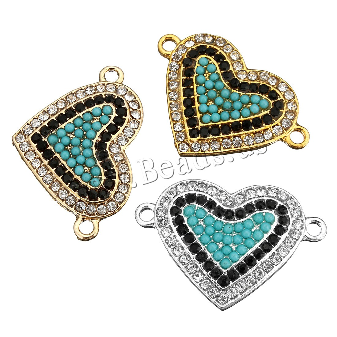 Buy Cubic Zirconia Micro Pave Brass Connector Glass Seed Beads Heart gold color plated micro pave cubic zirconia & 1/1 loop colors choice 31x41x4mm Hole:Approx 2mm 5 Sold Lot