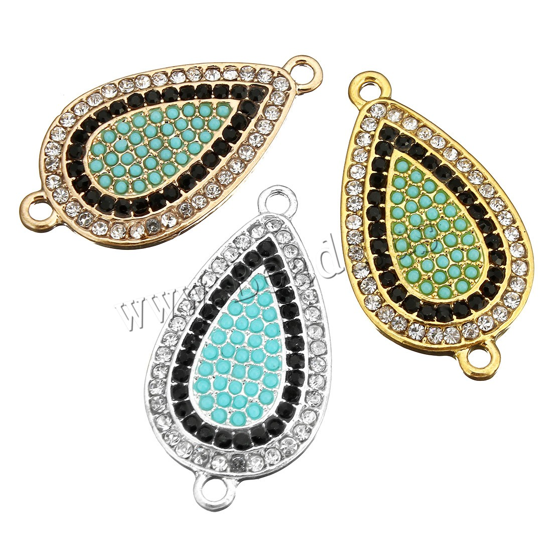 Buy Cubic Zirconia Micro Pave Brass Connector Glass Seed Beads Teardrop plated micro pave cubic zirconia & 1/1 loop colors choice 18x34x3mm Hole:Approx 2mm 5 Sold Lot
