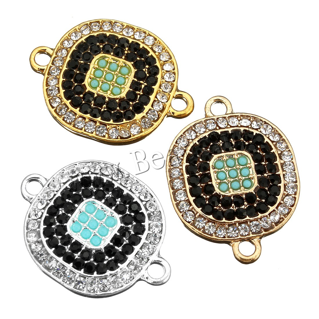 Buy Cubic Zirconia Micro Pave Brass Connector Glass Seed Beads plated micro pave cubic zirconia & 1/1 loop colors choice 19x25x3mm Hole:Approx 2mm 5 Sold Lot