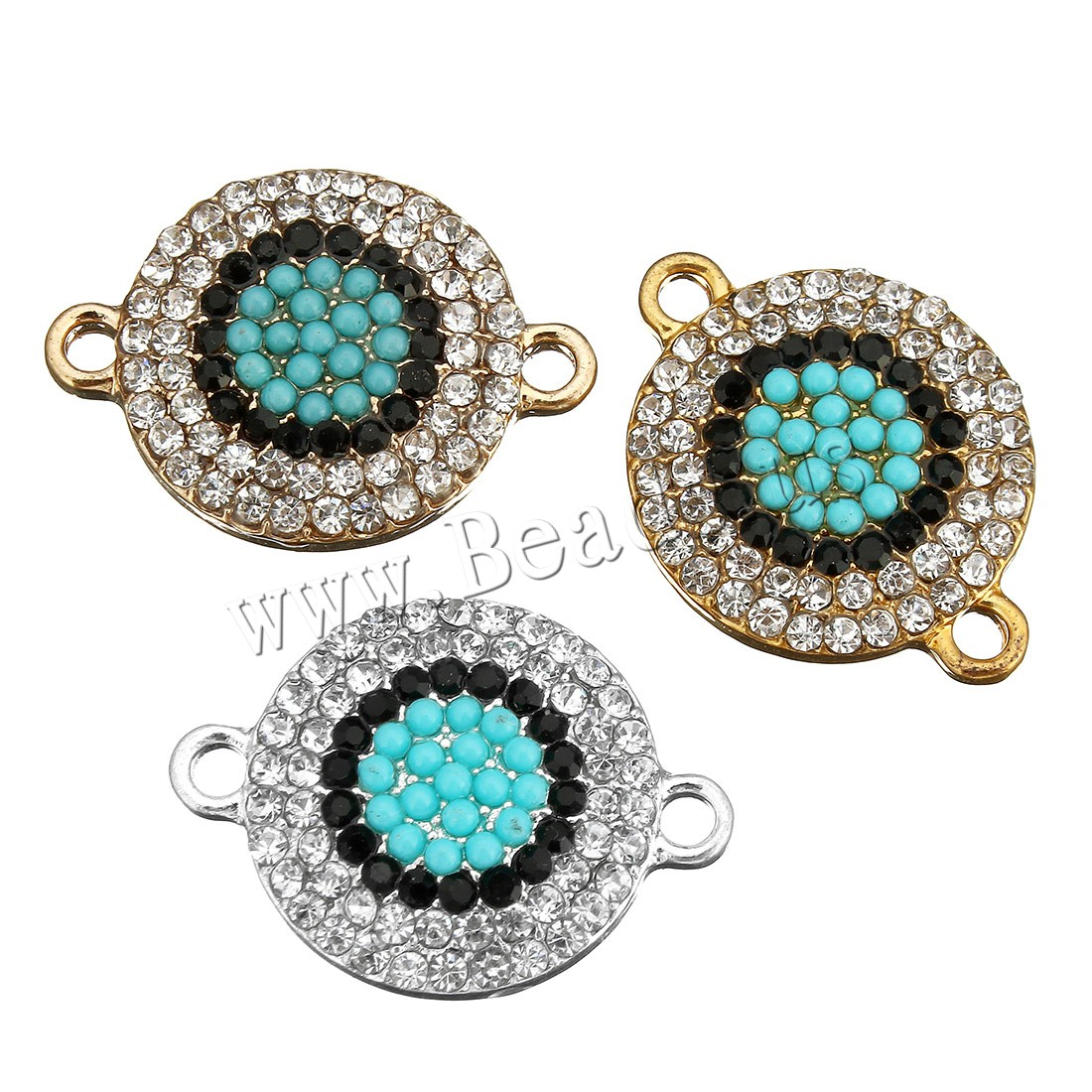 Buy Cubic Zirconia Micro Pave Brass Connector Glass Seed Beads Flat Round plated micro pave cubic zirconia & 1/1 loop colors choice 24x17x4mm Hole:Approx 2mm 5 Sold Lot