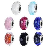 kommen on® Schmuck Beads, Glas, Rondell, verschiedene Verpackungs Art für Wahl & Sterling Silber single-Core ohne troll & facettierte & Silberfolie, keine, 9x15mm, Bohrung:ca. 4.5-5mm, verkauft von PC