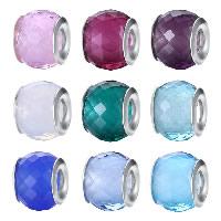 kommen on® Schmuck Beads, Glas, Trommel, Sterling Silber-Dual-Core ohne troll & facettierte, keine, 9x11mm, Bohrung:ca. 4.5-5mm, verkauft von PC