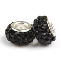 Strass Perlen European Stil, Ton, Trommel, Platinfarbe platiniert, Messing-Dual-Core ohne troll & mit Strass, schwarz, 8x12mm, Bohrung:ca. 4.5mm, 10PCs/Tasche, verkauft von Tasche