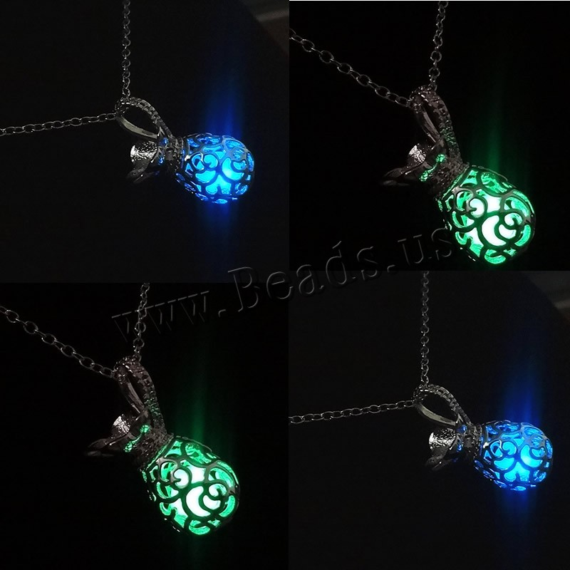 Buy Luminated Necklace Zinc Alloy iron chain platinum color plated oval chain & woman & hollow colors choice lead & cadmium free 17x32mm Sold Per Approx 23.5 Inch Strand