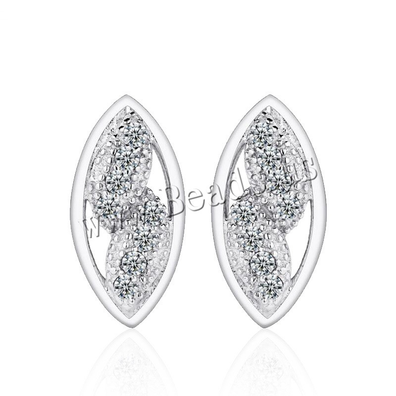 Buy Cubic Zirconia Micro Pave Sterling Silver Earring 925 Sterling Silver Leaf platinum plated micro pave cubic zirconia & woman & hollow 5x11mm 5Pairs/Lot Sold Lot