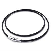 PU-Schnur-Halskette, Kuhhaut, Edelstahl Bajonettverschluss, unterschiedliche Länge der Wahl, schwarz, 3mm, verkauft von Strang