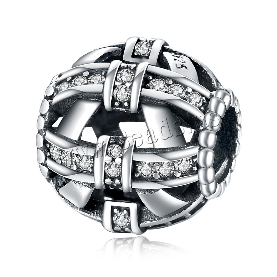 Buy Comeon® Jewelry Beads Thailand Sterling Silver Drum micro pave cubic zirconia & without troll & hollow 12x13mm Hole:Approx 4.5-5mm Sold PC
