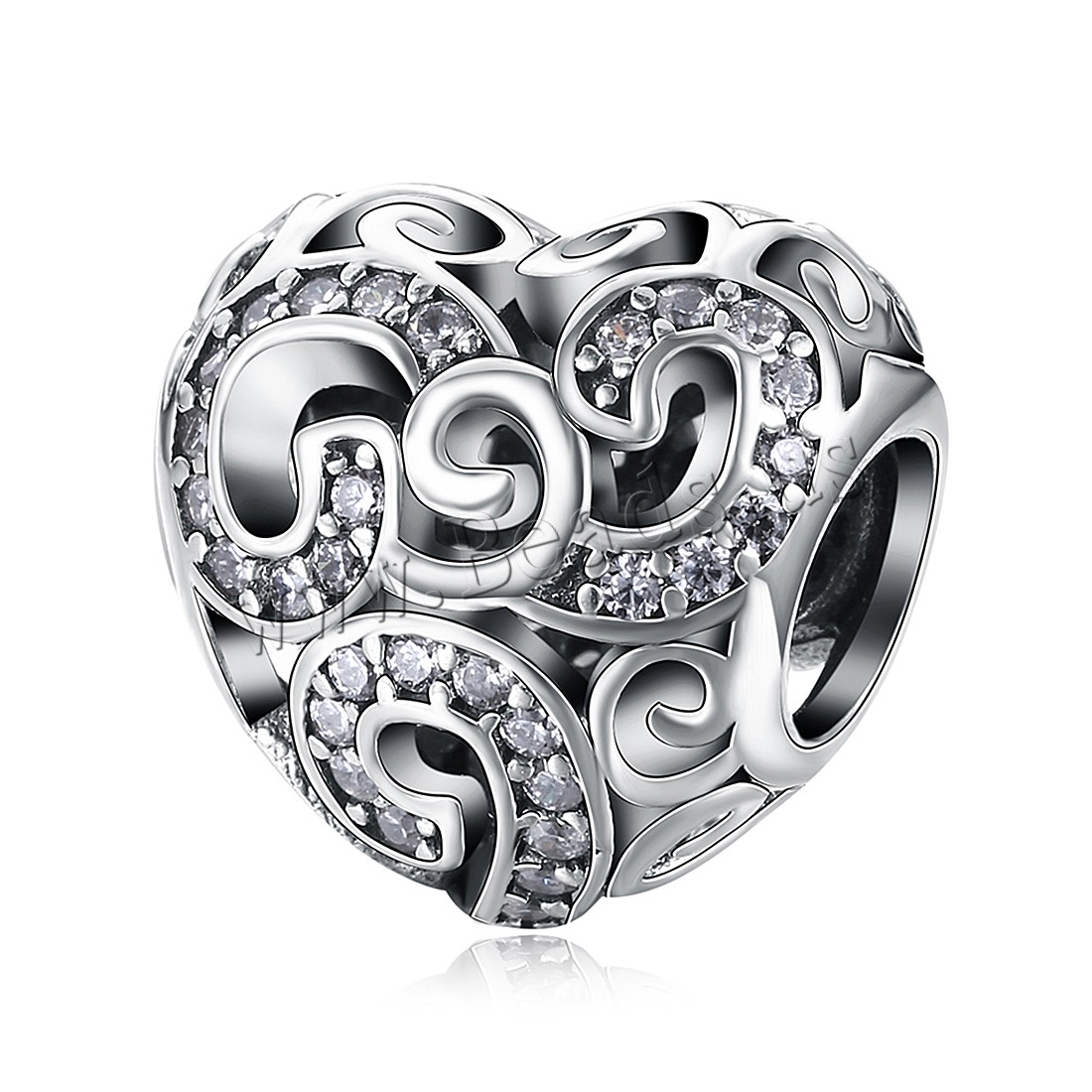 Buy Comeon® Jewelry Beads Thailand Sterling Silver Heart micro pave cubic zirconia & without troll & hollow 13x12mm Hole:Approx 4.5-5mm Sold PC