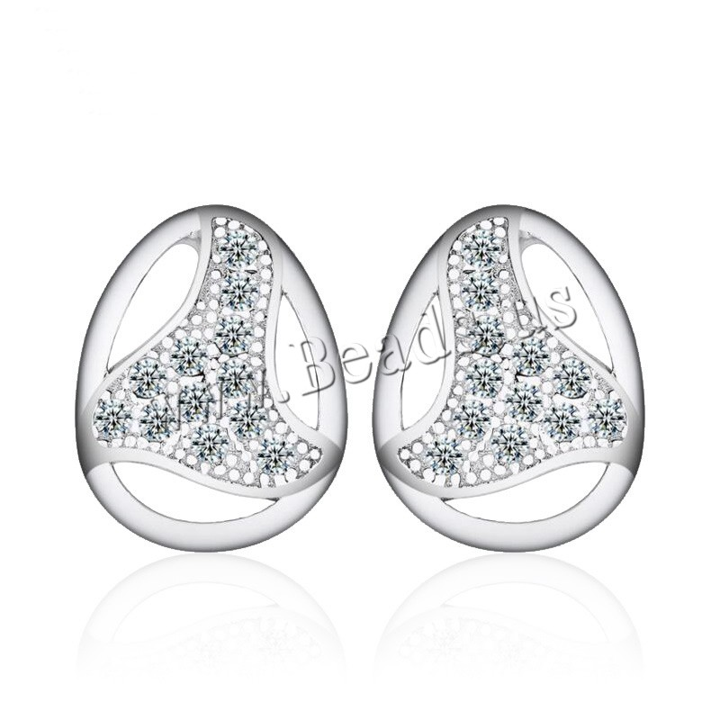 Buy Cubic Zirconia Micro Pave Sterling Silver Earring 925 Sterling Silver Teardrop platinum plated micro pave cubic zirconia & woman 8.5x11mm 5Pairs/Lot Sold Lot
