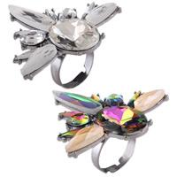 Zinklegierung Open -Finger-Ring, mit Kristall, Platinfarbe platiniert, für Frau & facettierte & mit Strass, keine, frei von Nickel, Blei & Kadmium, 48x50mm, Größe:8, verkauft von PC