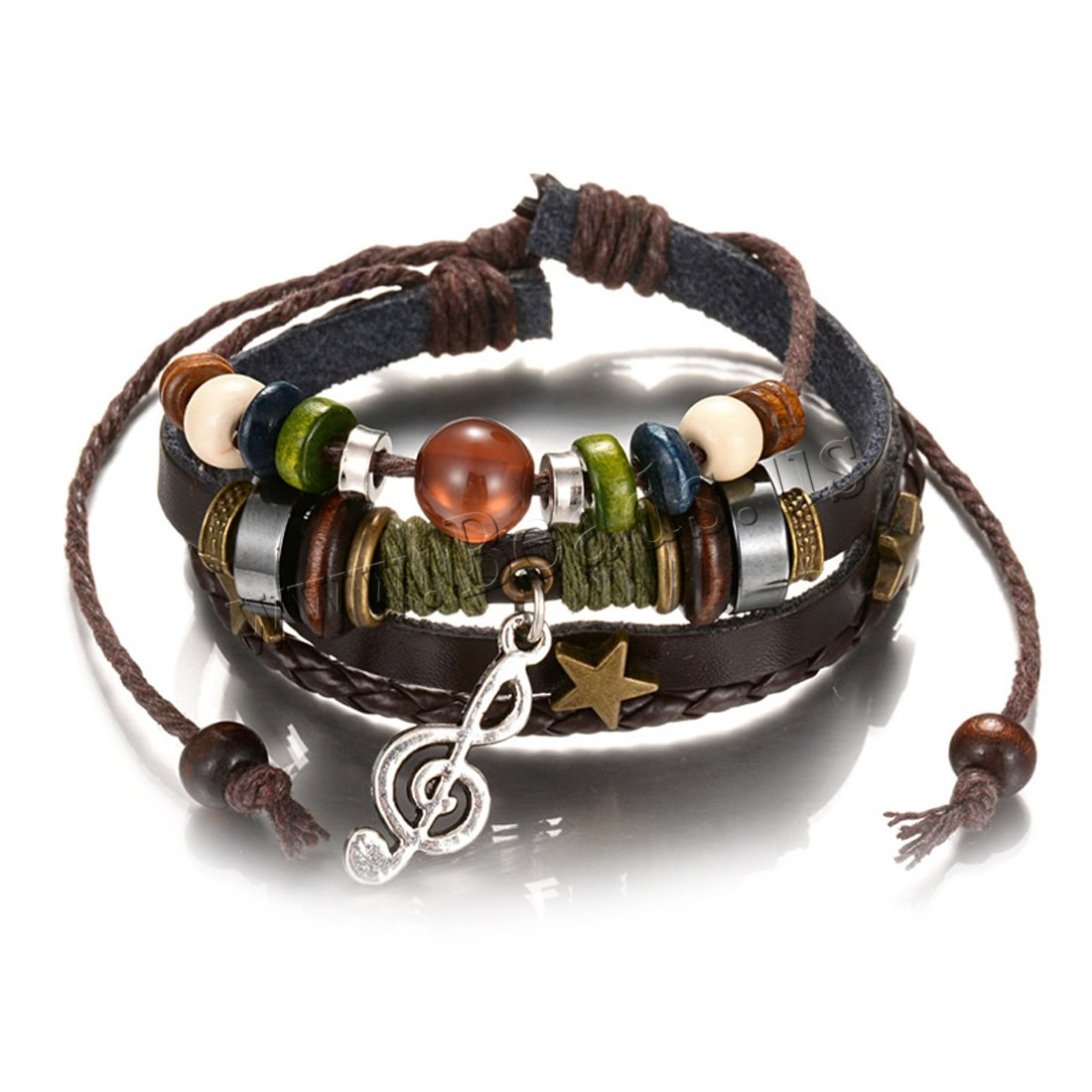 Buy PU Leather Cord Bracelets Zinc Alloy PU Leather & Wood plated adjustable & 4-strand colors choice lead & cadmium free 65mm Inner Diameter:Approx 60mm Length:Approx 7 Inch Sold PC