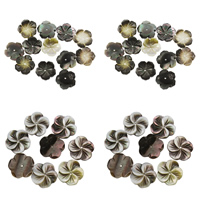 Schwarze Muschelperlen, Blume, verschiedene Stile für Wahl, 15x2mm, Bohrung:ca. 1mm, 50PCs/Tasche, verkauft von Tasche