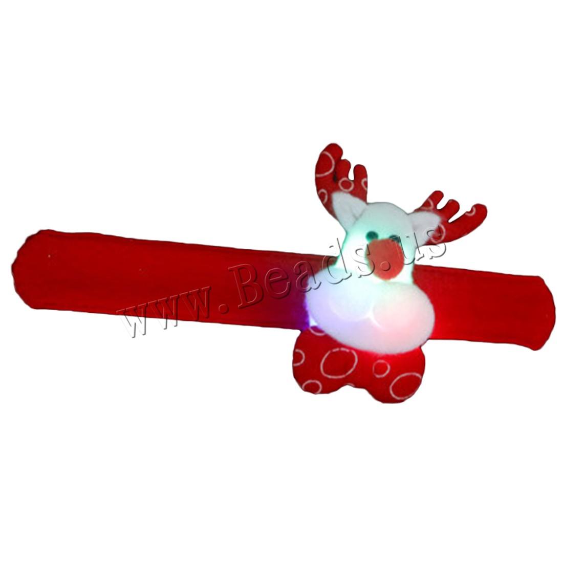 Non-woven Fabrics Christmas Slap Bracelet Plastic children & Christmas jewelry & different styles choice & LED 220mm Sold PC
