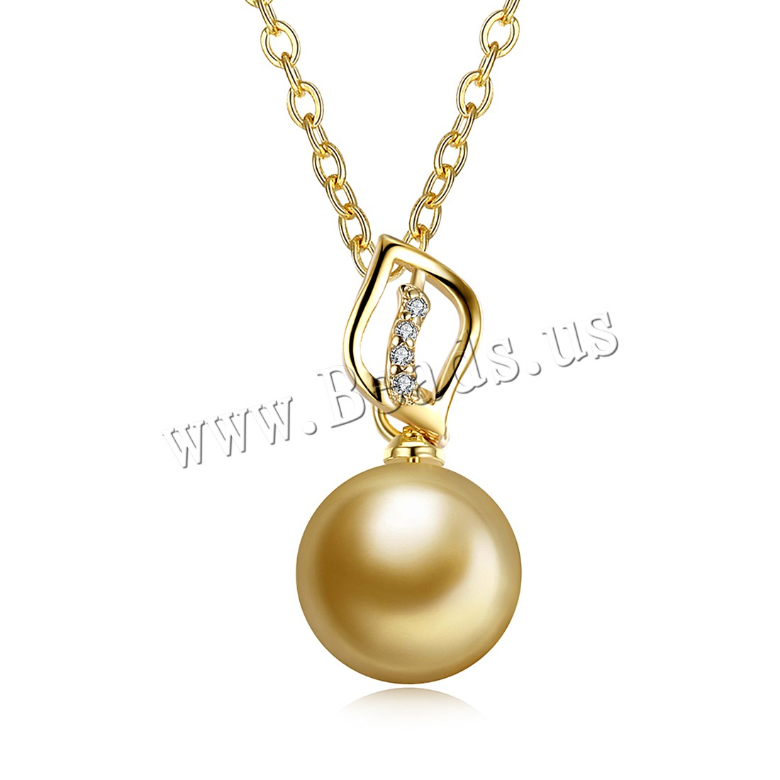Buy Comeon® Jewelry Necklace Brass Freshwater Pearl 1.9lnch extender chain real gold plated natural & oval chain & woman & cubic zirconia nickel lead & cadmium free 11x23mm Sold Per Approx 17.7 Inch Strand