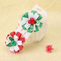 Weihnachts-Haar-Clip, Ripsband, mit Eisen-clip & Plüsch & Kunststoff, Blume, für Kinder & Weihnachtsschmuck, keine, 50x50mm, 10PCs/Menge, verkauft von Menge