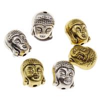 Buddhistische Perlen, Zinklegierung, Buddha, plattiert, keine, frei von Blei & Kadmium, 11x9x7.50mm, Bohrung:ca. 1.5mm, 10PCs/Tasche, verkauft von Tasche