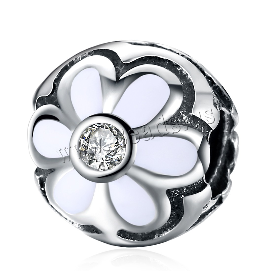 Buy Comeon® Jewelry Beads Thailand Sterling Silver Round flower pattern & micro pave cubic zirconia & without troll & enamel 10x10mm Hole:Approx 4.5-5mm Sold PC