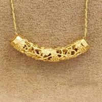 Messing Rohr Perlen, 24 K vergoldet, hohl, frei von Nickel, Blei & Kadmium, 46x8mm, Bohrung:ca. 2-5mm, verkauft von PC