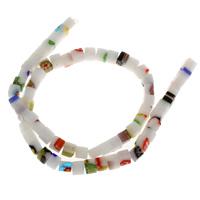 Chevron Glasperlen, Glas Chevron, Quadrat, handgemacht, 5.5mm, Bohrung:ca. 1mm, ca. 65PCs/Strang, verkauft per ca. 14.5 ZollInch Strang