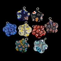 Millefiori Lampwork Anhänger, mit Zinklegierung Stiftöse, Blume, handgemacht, gemischte Farben, 18.50x21x2.50mm, Bohrung:ca. 2mm, verkauft von PC