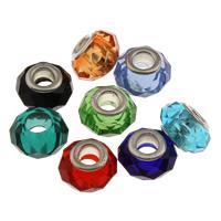Lampwork Perlen European Stil, handgemacht, Messing-Dual-Core ohne troll, gemischte Farben, 14x9mm, Bohrung:ca. 5mm, verkauft von PC