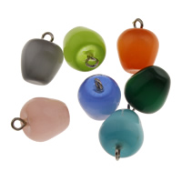 Katzenauge Anhänger, mit Zinklegierung Stiftöse, Apfel, gemischte Farben, 11.5x13.5mm, Bohrung:ca. 2mm, verkauft von PC
